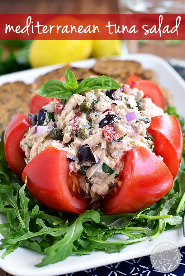 Mediterranean Tuna Salad is fresh and light - serve in a tomato, on a salad, between twi slices of bread, or with crackers!