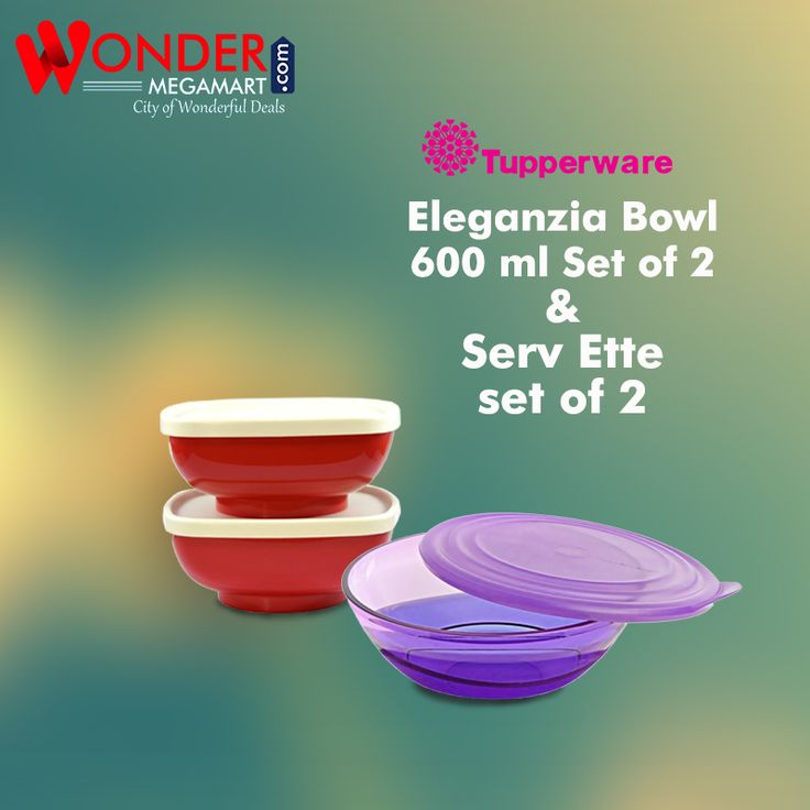 Tupperware Eleganzia Bowl 600 ml Set of 2 & Serv Ette Set of 2 #wondermegamart.com