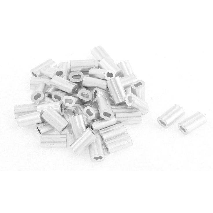 """UXCELL 1.2 Mm 1/20 """"de Alambre de Acero Cuerda Aluminio Virolas Manguitos de Accesorios Bucle 50 Unids"""