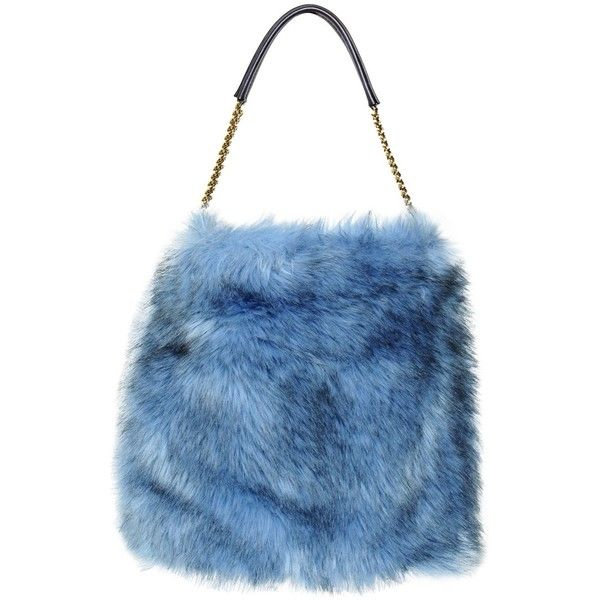 STELLA MCCARTNEY Grizzly Faux Fur Hobo Bag ($1,495) ❤ liked on Polyvore featuring bags, handbags, shoulder bags, accessories, purses, blue, chain purse, hobo shoulder bags, handbags shoulder bags and stella mccartney handbags