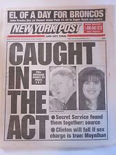 BILL CLINTON LEWINSKY NEW YORK POST NEWSPAPER 1/26/1998 JOHN ELWAY SUPER BOWL