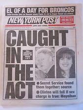 BILL CLINTON LEWINSKY NEW YORK POST NEWSPAPER 1/26/1998 JOHN ELWAY SUPER BOWL