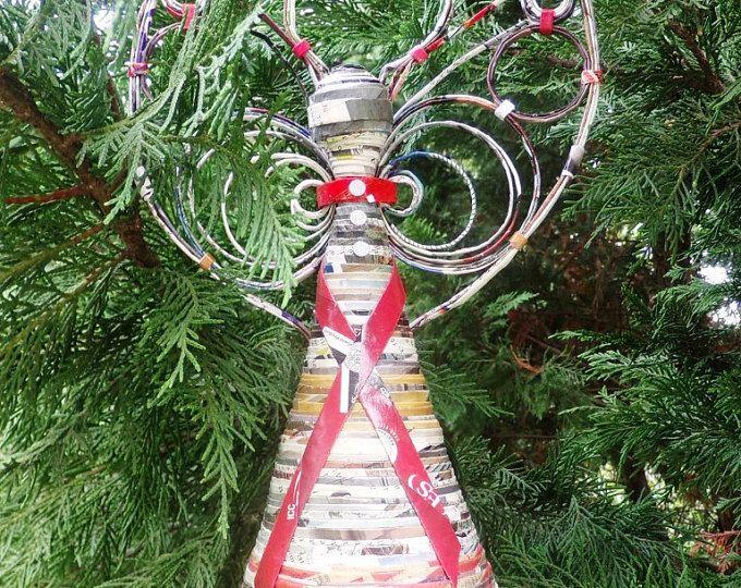 Angel de papel de decoración de fiestas 13 pulgadas-reciclado papel árbol-topper, soporte de angel gratis - Navidad