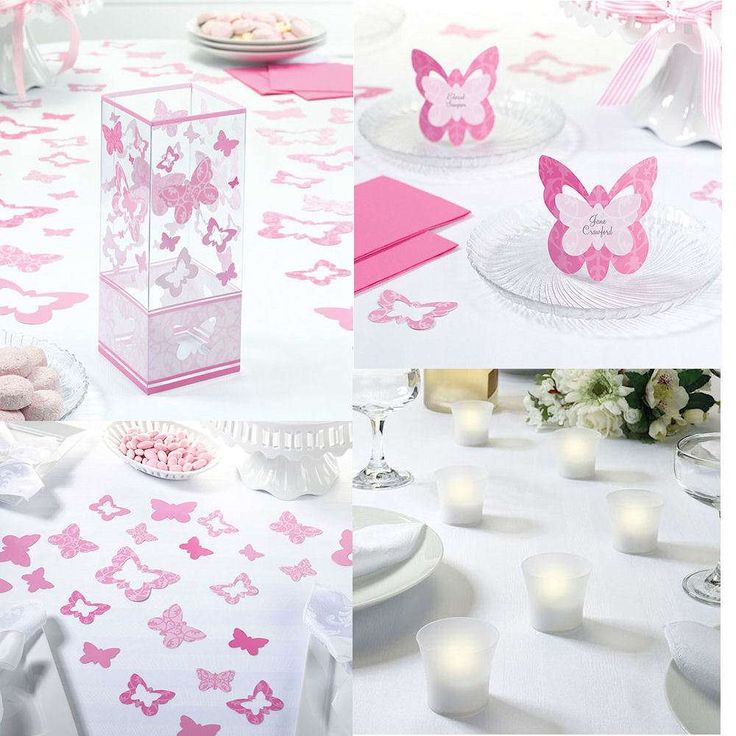 Pink Butterfly Christmas Decorations Tables Party Table And Place Settings