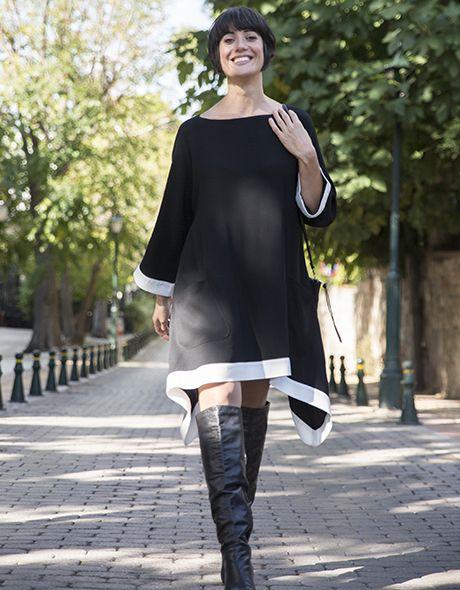 Black and white dress viscose onesize!!! www.cherryschoice.gr