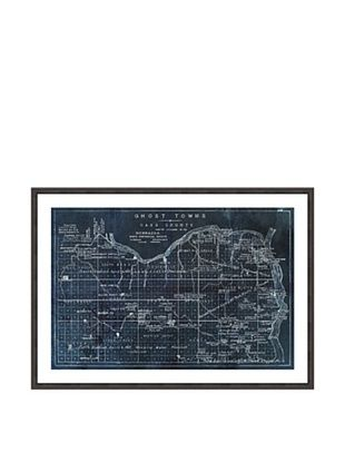Oliver Gal Ghost Towns Map 1866 Noir Framed Art Print