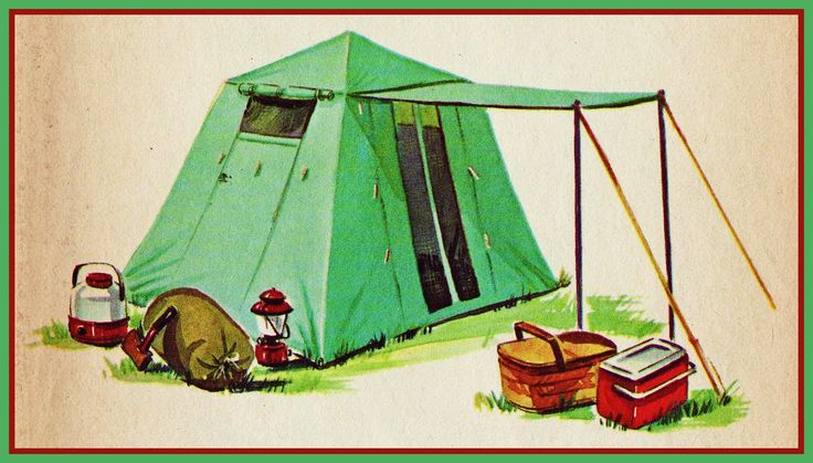 Vintage camping postcard.