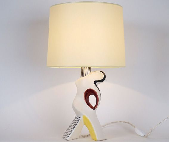 Lampe en céramique multicolore XXème siècle Hauteur avec abat-jour : 40 cm www.jifcollin.com
