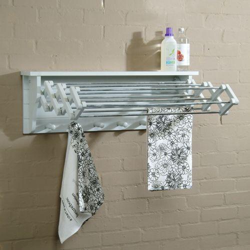 Porte-serviette, étendoir mural en bouleau 10 rails et 6 patères