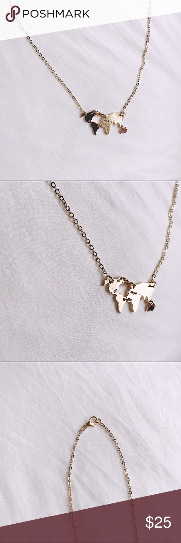 The World necklace Gold plated necklace with the continents! This is the only one i have !! Brandy Melville Jewelry Necklaces