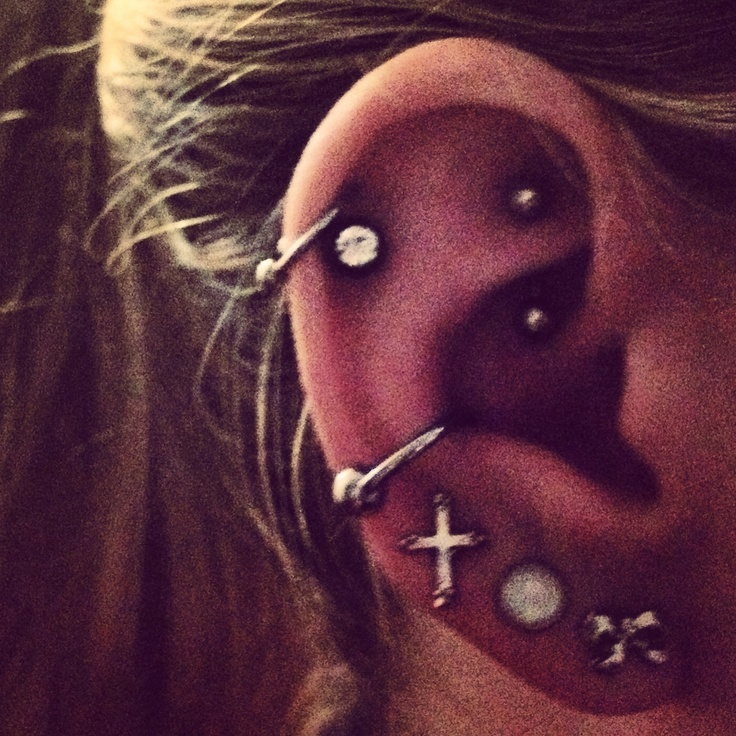 Piercings in my right ear :) #conch #rook #doublehelix