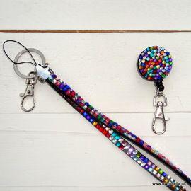 Zipper met lanyard voor ID-BADGE in BLING BLING MULTICOLOR