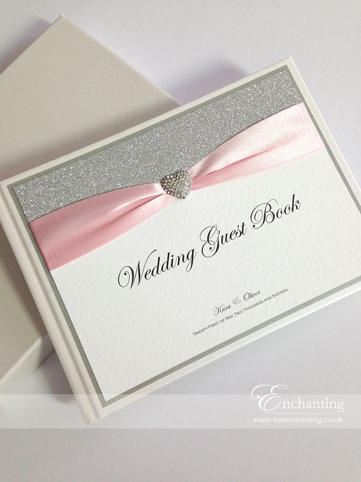 mini book wedding invitations uk%0A Pink Wedding Guest Book   The Cinderella Collection  Guest Book    Featuring silver glitter paper