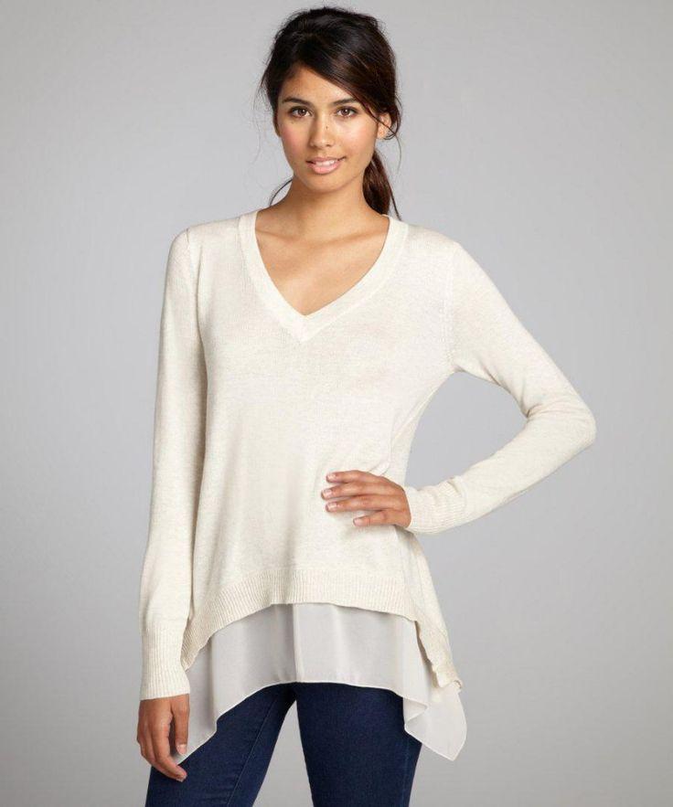 Women S White Knit V Neck Chiffon Trim Long Sleeve Sweater