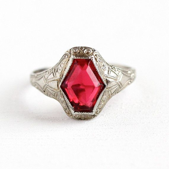 Elegant Vintage 10k White Gold Art Deco Era Ring Featuring A Simulated Ruby The Red Pink Glass Stone Is Securely Ruby Ring Vintage Gold Art Deco Art Deco Era