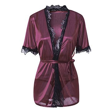 Only US$7.68 , shop Sexy Lace Hem Elegant Silky Sleepwear Waist Chalaza Temptation Kimono Bathrobe Suit at Banggood.com. Buy fashion Kimonos online.