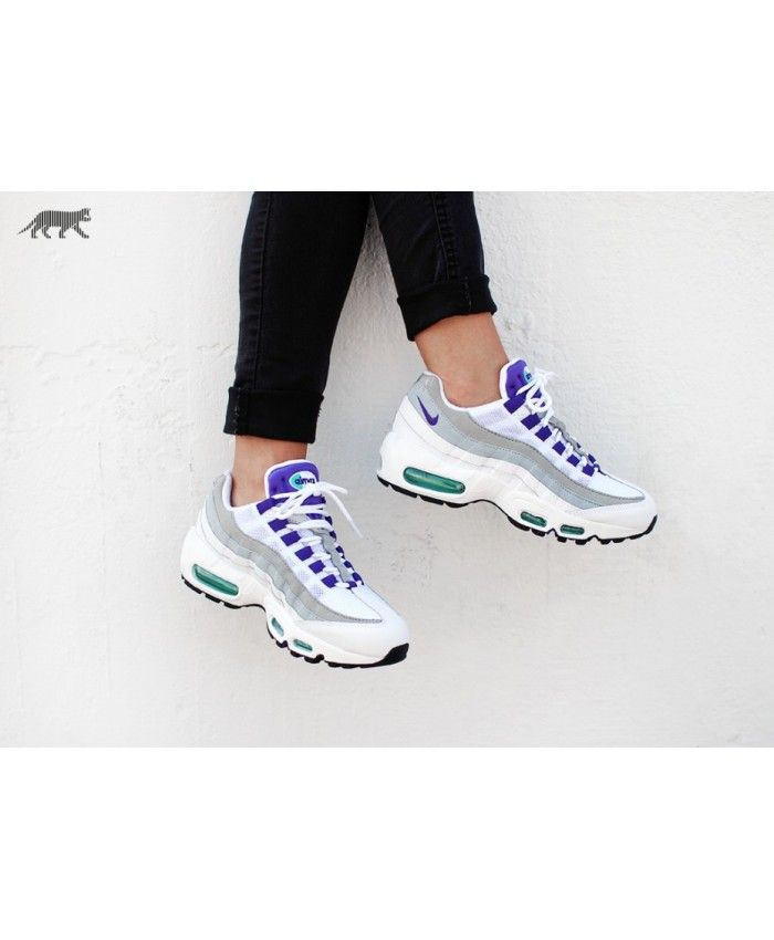 1b919c1358 Nike Air Max 95 White Purple Grey Trainers | nike white | Air max 95 ...
