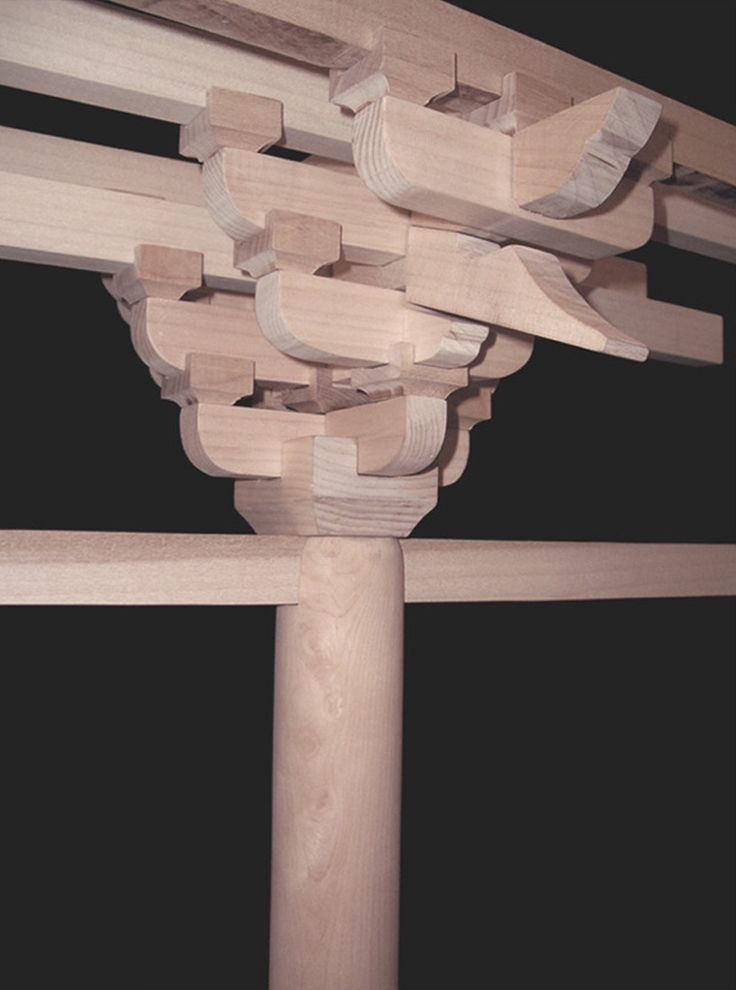 1tableedit.jpgThis is a model of a Chinese Temple bracket used in the Sung Dynasty, 960 C.E. 1279 C.E. This reconstruction is based in the Yingzao Fashi. ( A manual of construction of the Soung court ) The design is composed of a network of tight-fitting Dou components and Gong components, creating a flexible joint with structural integrity. Each successive piece relies on the component above and below it. This project was created during an architectural history seminar in 2003.