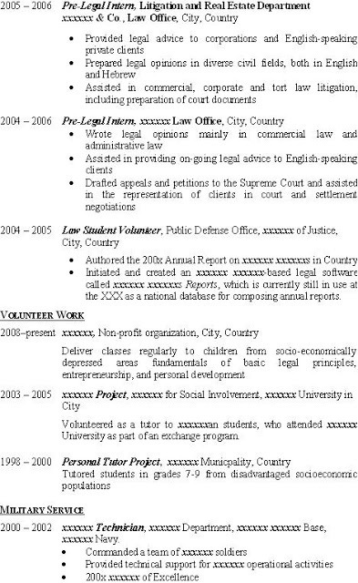 Portion Of Fantastic CV Or Resume For LLM Applicant