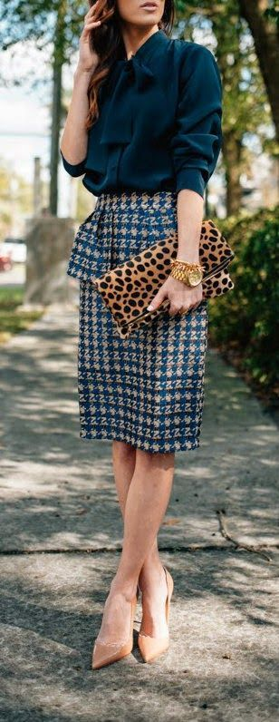 Houndstooth Peplum Skirt with The Boss Blouse and Leopard Foldover Clutch, Christian Louboutin Pumps Sequins and Things