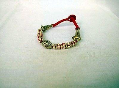 Threaded Red Golden Bracelet