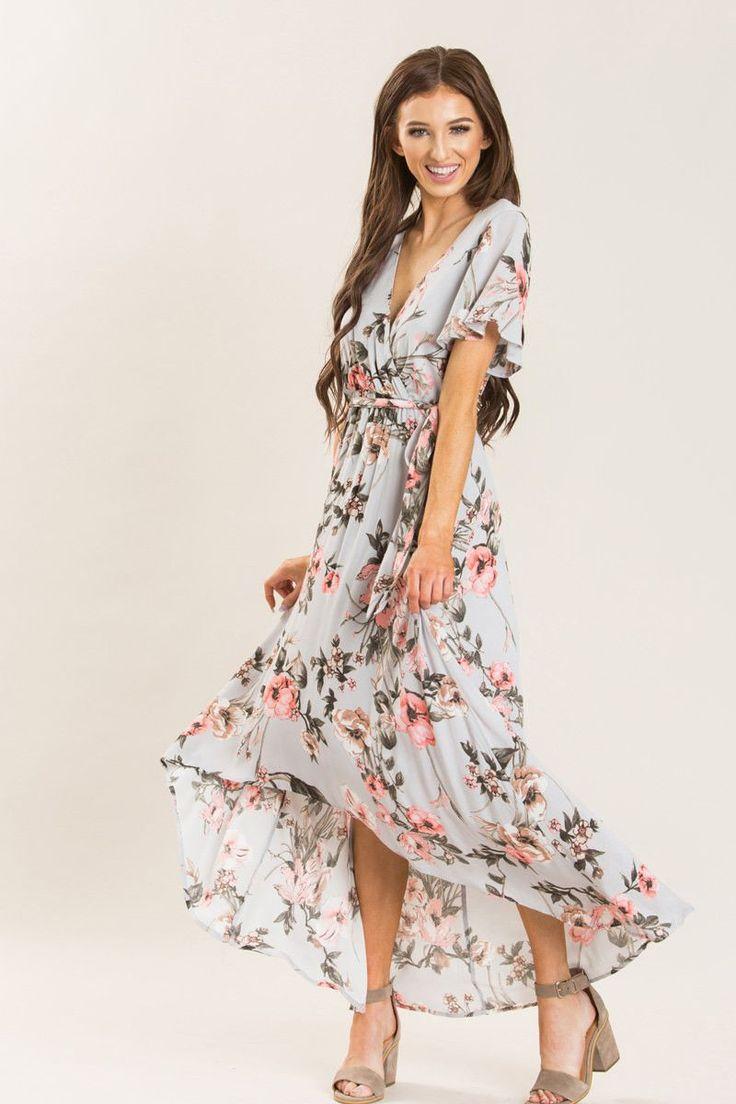 Melody Grey Floral Wrap Maxi Dress