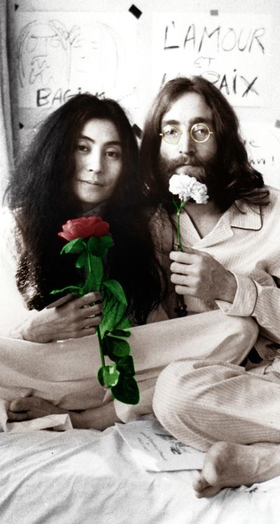 "John Lennon and Yoko Ono: ""Imagine all the people living life in peace""; Yoko Ono: ""A dream you dream alone is only a dream, a dream you dream together is reality""."