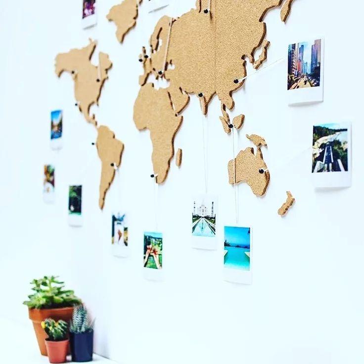 mapa mundo - corcho autoadhesivo