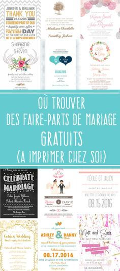 Découvrez 3 sites qui proposent de très jolis faire-parts de mariage gratuits à télécharger et à imprimer soi-même : http://mon-mariage-pour-moins-cher.com/post/ou-trouver-des-faire-parts-de-mariage-gratuits/