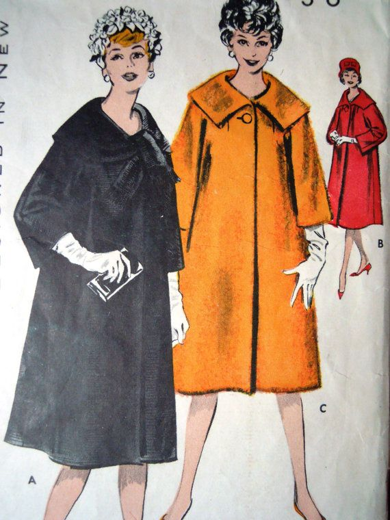 Wide collar coat by Butterick number 8885 sewing pattern  Circa 1950s  Bust 32 inches  UK Seller