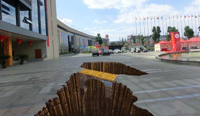 Décoration animation événementielle - Revêtement de sol extérieur trompe l'œil effet 3D - Passage vertigineux