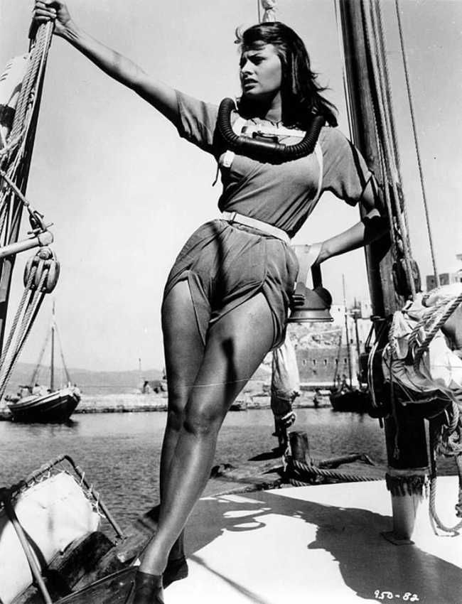 Sophia Loren on the island of Hydra, Greece, filming Boy on a Dolphin (1957).