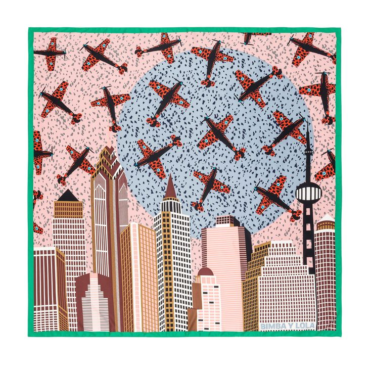 BIMBA Y LOLA square scarf with satin finish and multicoloured illustration with a contrasting green frame. An illustration of aeroplanes against a fic