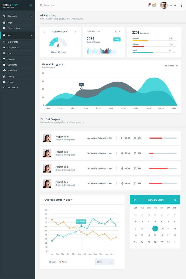 Project Management System Dashboard UI Free PSD