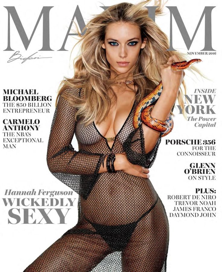 The stunning Hannah Ferguson shows off her incredible body for the November 2016 issue of Maxim Magazine. The blond bombshell gave cameras a fierce look as she held a snake for the cover of the popular men's magazine.