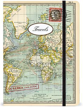 Cavallini World Map Par Avion Journal is a perfect companion for those who love to travel. I just got one and can't wait to begin jotting down notes from my travels.