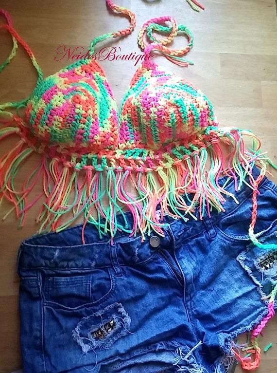 Crochet bralette, Neon bikini, crochet halter top, crochet crop top, Festival color, bohochic, bohemian clothing