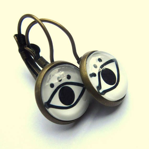 Evil Eye Earrings Black and White Glass and Brass Boho Fashion