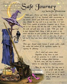 Safe Journey Book of Shadows spell page by steelgoddess on Etsy. $14.95, via Etsy.