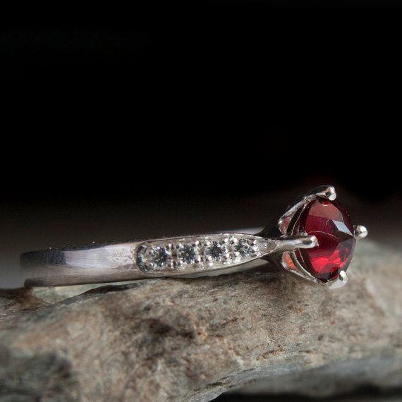 Garnet Ring  - Diamond ring - engagement ring - Red stone Ring - !4 Karat White Gold