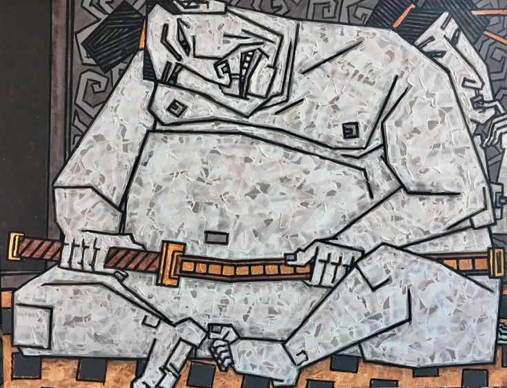 """Game Samurai - size 43"""" x 34""""(110x85 cm) - Картина,  85x110 cm ©2016 - DMITRIY TRUBIN -                                                                                                            Абстрактное искусство, Сюрреализм, Другой, Любовь / Романтика, Люди, Портреты, Эротический, современная живопись, трубин, самурай, япония, art, popular artist, by painting, trubin, colorful"""
