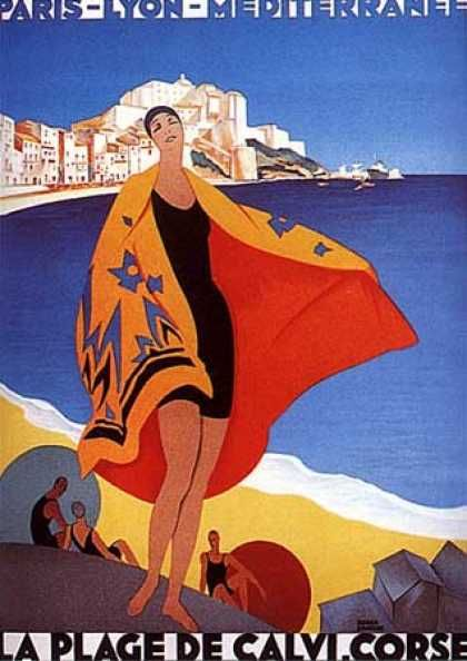 La Plage de Calvi by Roger Broders (1930)