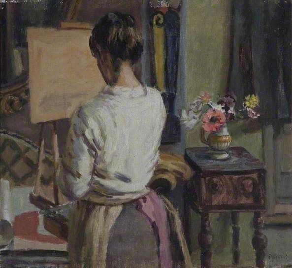 DUNCAN GRANT Lady at an Easel (the artist's daughter, Angelica Bell, painting in her father's studio, Charleston, Sussex)