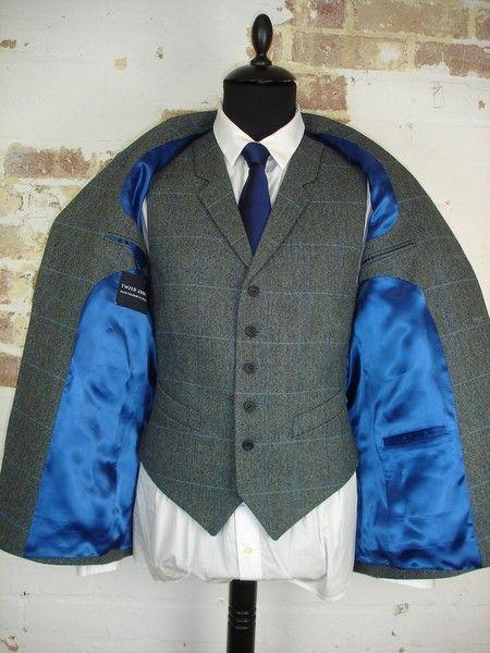 3 Piece Grey & Blue Check Tweed Wedding Suit