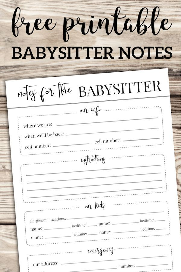 Free Printable Babysitter Notes Template Babysitter Notes