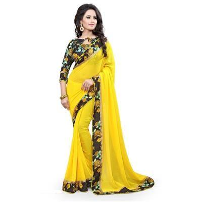 Buy Saiveera New Arrival Yellow Lace Border printd Casual Georgette Saree/sari by Saiveera Fashion, on Paytm, Price: Rs.1099?utm_medium=pintrest