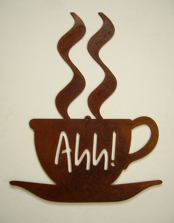 "Metal art steel ""Coffee Break"" java joe rustic natural patina wall decor"