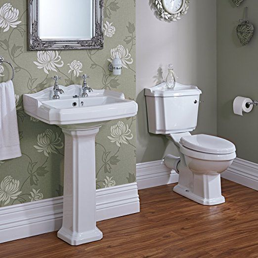 Traditional Bathroom Basin Sink and Toilet WC Set including Cistern Fittings and Chrome Lever Handle