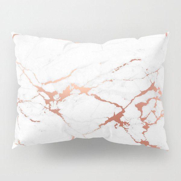 white rose gold marble pillow sham