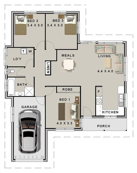 3 Bed House Plans Single Garage For Sale 126 M2 3 Bedroom Plans Small Home Single Garage House Plans Single Garage Modern In 2021 Bedroom House Plans House Plans House Plans Australia